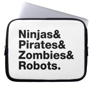 Ninjas y piratas y zombis y robots funda ordendadores