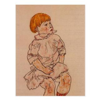 Niño asentado Schiele- de Egon Postales