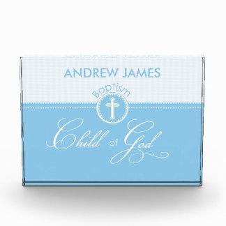 Niño azul del bautismo de dios, personalizable