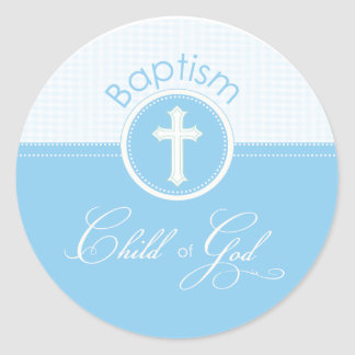Niño azul del bautismo de dios, personalizable pegatina redonda