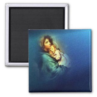 Niño bendecido Jesús del Virgen María y del niño Imán Cuadrado