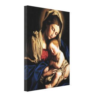 Niño bendecido Jesús del Virgen María y del niño Impresion De Lienzo