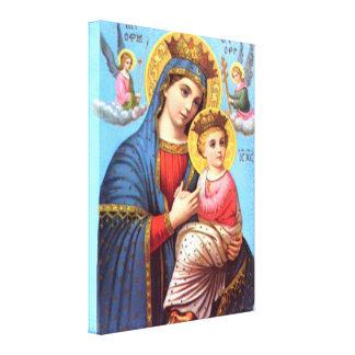 Niño bendecido Jesús del Virgen María y del niño Lona Envuelta Para Galerias