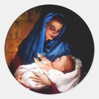 Niño bendecido Jesús del Virgen María y del niño Etiquetas Redondas