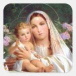 Niño bendecido Jesús del Virgen María y del niño Calcomanias Cuadradas