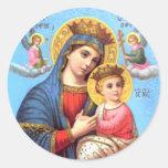 Niño bendecido Jesús del Virgen María y del niño Etiqueta Redonda