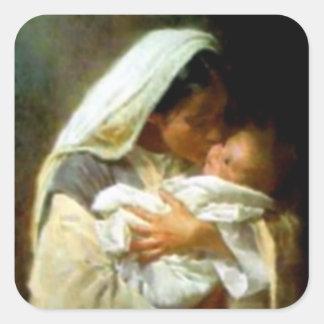 Niño bendecido Jesús del Virgen María y del niño Colcomanias Cuadradas