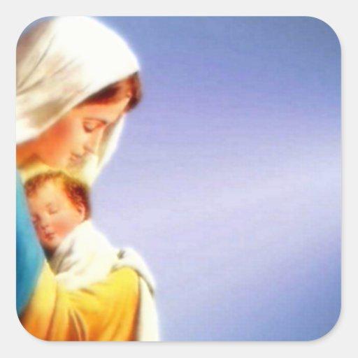 Niño bendecido Jesús del Virgen María y del niño Calcomania Cuadradas Personalizada