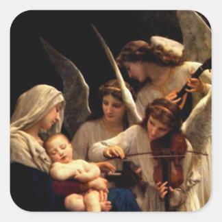 Niño bendecido Jesús del Virgen María y del niño Pegatina Cuadrada