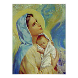 Niño bendecido Jesús del Virgen María y del niño Póster