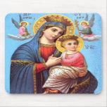 Niño bendecido Jesús del Virgen María y del niño Tapete De Raton
