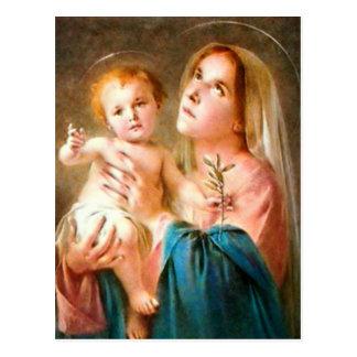Niño bendecido Jesús del Virgen María y del niño Tarjeta Postal