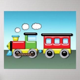Niño colorido; locomotora y Caboose de s Impresiones