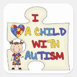 Niño con el chica trigueno 2 del autismo calcomanías cuadradases