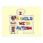 Niño con el chica trigueno 2 del autismo postal