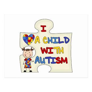 Niño con el chica trigueno 2 del autismo tarjetas postales