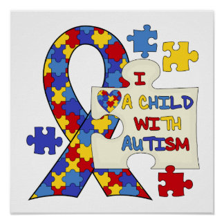 Niño con la cinta de la conciencia del autismo póster