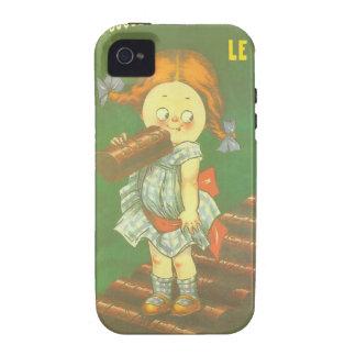 Niño con los anuncios franceses grandes del Case-Mate iPhone 4 carcasas