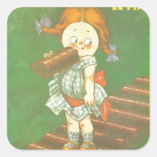 Niño con los anuncios franceses grandes del pegatina cuadrada
