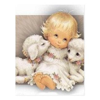 Niño con los corderos tarjeta postal