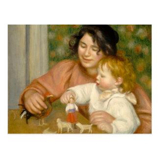 Niño con los juguetes, Gabrielle y el hijo del art Postales