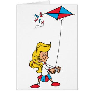 Niño con una cometa tarjeta de felicitación