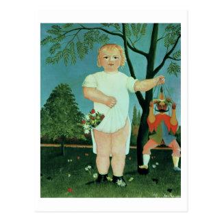 Niño con una marioneta, c.1903 (aceite en lona) postal