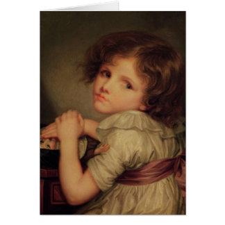 Niño con una muñeca tarjeta de felicitación