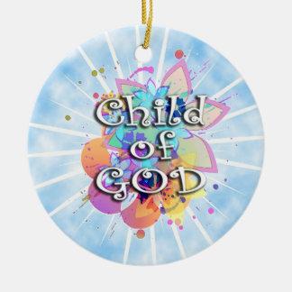 Niño de dios, en colores pastel adorno redondo de cerámica