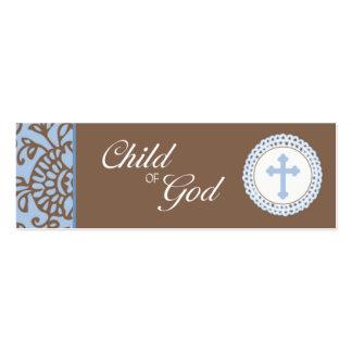 Niño de dios - etiqueta azul del favor tarjetas de negocios