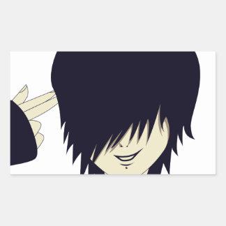 Niño de Emo con el arma del dedo Pegatina Rectangular