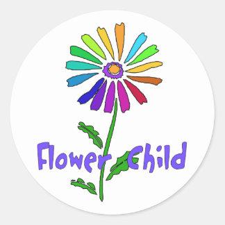 Niño de flor pegatina redonda