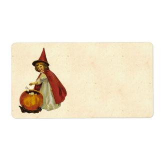Niño de Halloween del vintage Etiquetas De Envío