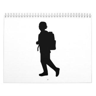 Niño de la escuela del estudiante calendarios