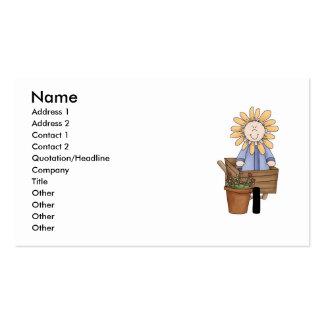 Niño de la flor en carretilla de rueda tarjeta de visita
