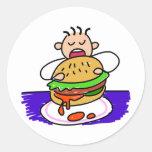 Niño de la hamburguesa pegatina redonda