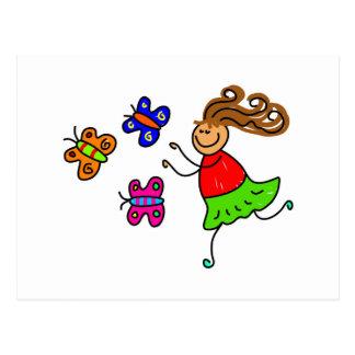 Niño de la mariposa tarjetas postales