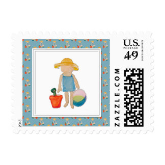 Niño de la niña en azul del cumpleaños de la playa sellos postales