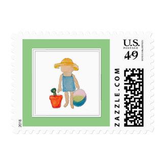 Niño de la niña en la menta del cumpleaños de la sellos postales