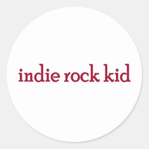 Niño de la roca del indie pegatina redonda