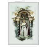 Niño de la tarjeta de felicitación católica de Pra