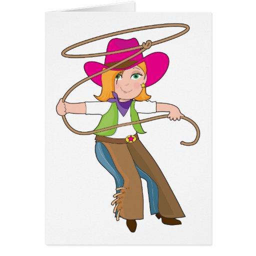 Niño de la vaquera tarjeta de felicitación
