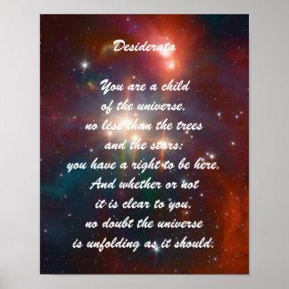 Niño de los desiderátums del universo póster