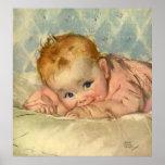 Niño de los niños del vintage, niña linda en la poster