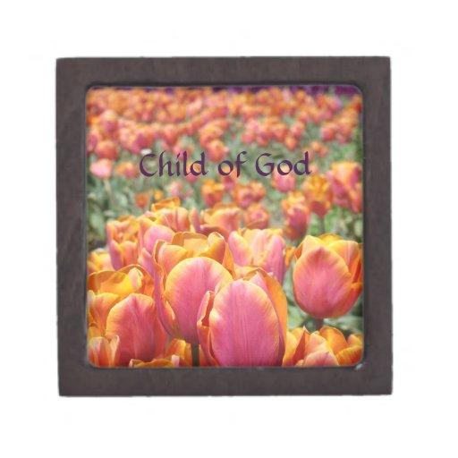 Niño de los tulipanes del joyero de las hijas de l caja de regalo de calidad