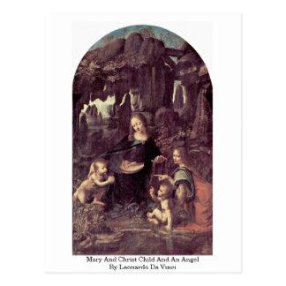 Niño de Maria y de Cristo y un ángel cerca Tarjeta Postal