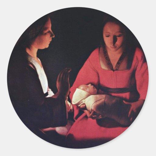 Niño de Newlyborn (la natividad?) Pegatina Redonda