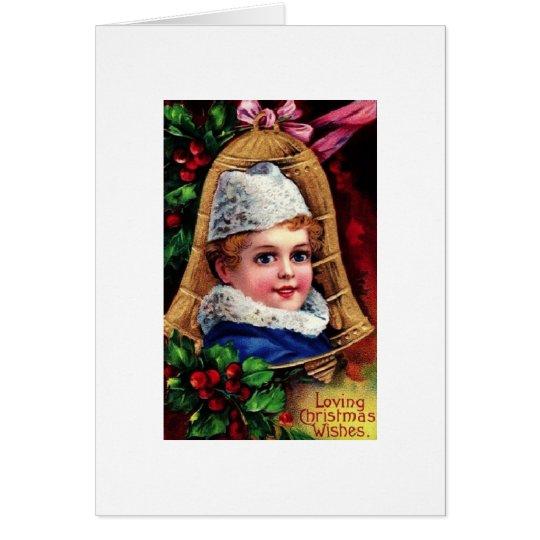Niño de ojos brillantes del navidad tarjeta de felicitación