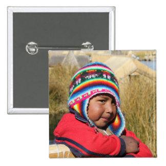 Niño de Perú - muchacho Pin Cuadrada 5 Cm