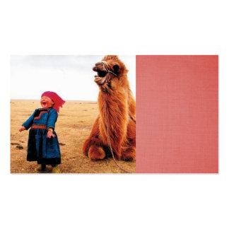 niño de risa y su camello de risa tarjetas de visita